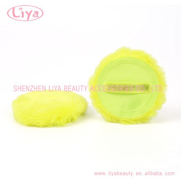 2014 hot sale soft cosmetic puff with silk ribbon long hair puff