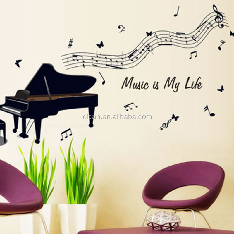 3D Piano Black rhythm music note wall stickers removable vinyl wall decal Music Room decorations Wall Art decals