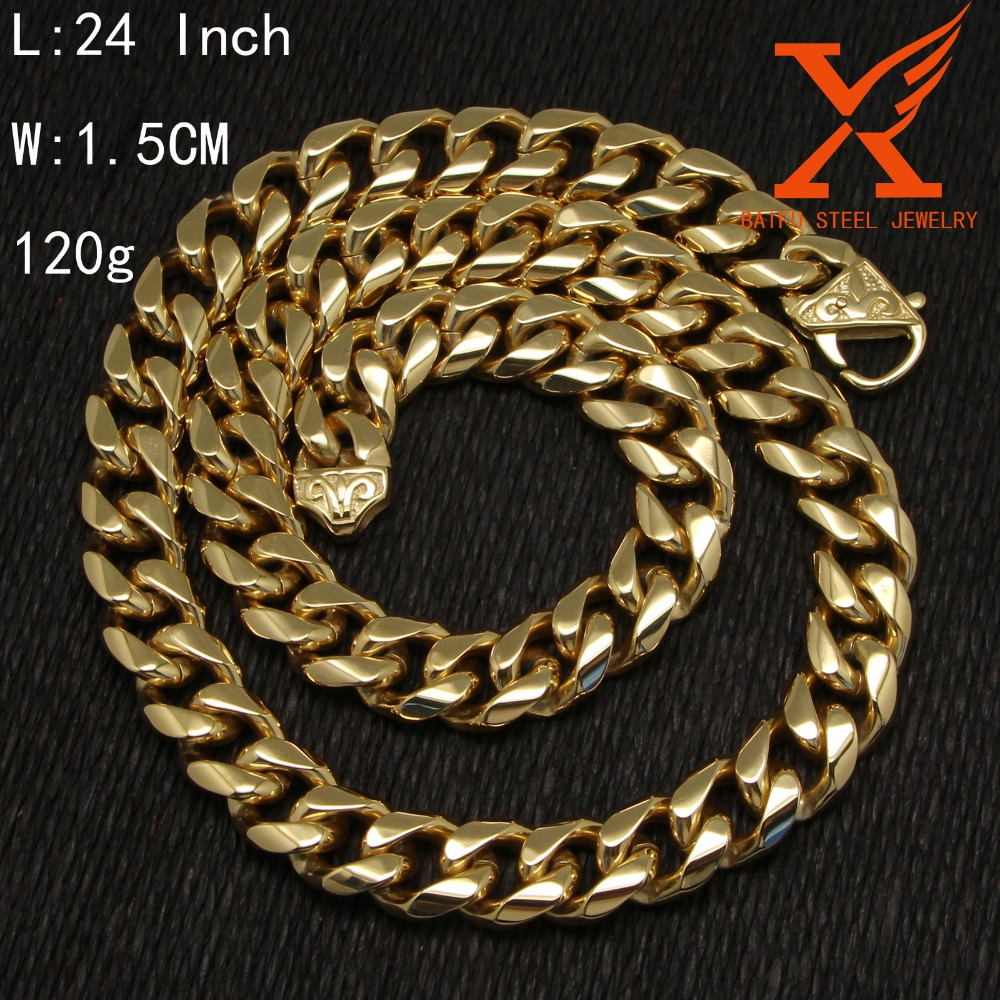 In Stock Factory Wholesale Gold Necklace with Party Jewelry 18K Gold Chain 15 MM Width Stainless Steel Cuban Link Chain