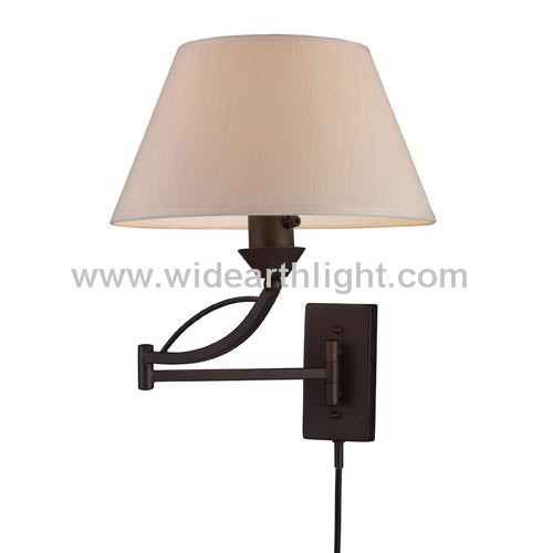 UL CUL Listed Painted Brown Swing Arm Wall Light With Linen Shade W80813