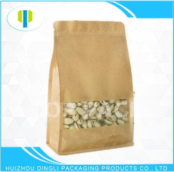 Factory price stand up zipper pistachio flat bottom bag with rectangle window