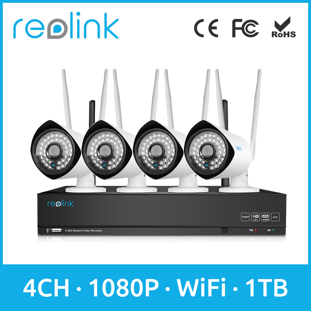 Security Camera System Wireless 4ch 1080P WiFi NVR w 4 Bullet WiFi IP Camera Set Reolink RLK4-210WB4