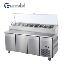 FURNOTEL Refrigerated Salad Bar Counter with Work Table FRCR-3-4
