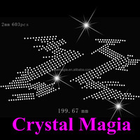 2016 crystal iron on patches large heat transfer rhinestone sticker for dress