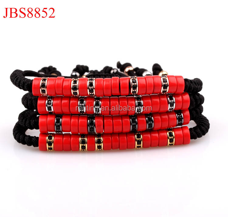 new fashion red turquoise stoppers friendship handword men bracelet
