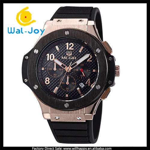 WJ-4787 MEGIR 3 atm water resistant vogue hot sale luxury silicone men brand watch