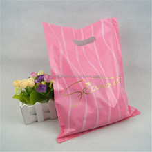 Classical stripe printed die-cut poly shopping bags, pink die-cut bags with stripe printing