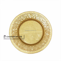 Wholesale Cheap Round Gold Glass Under Plate