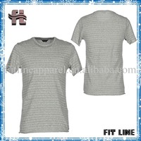 grey color casual retro t shirt with chest pocket o-neck stripe curl hem short sleeve tee men's fitness apparel top
