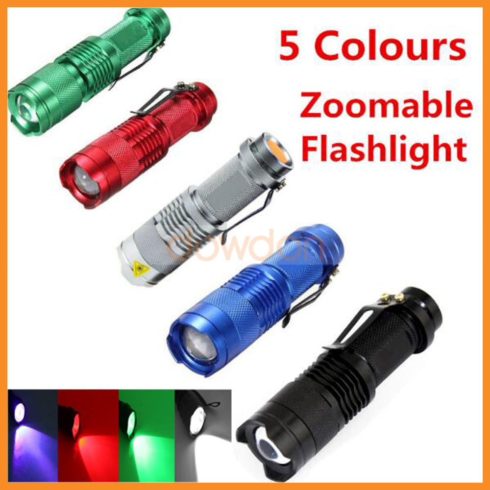 SK68 Professional Q5 Torch Blue White Green Red UV Led Zoomable Flashlight