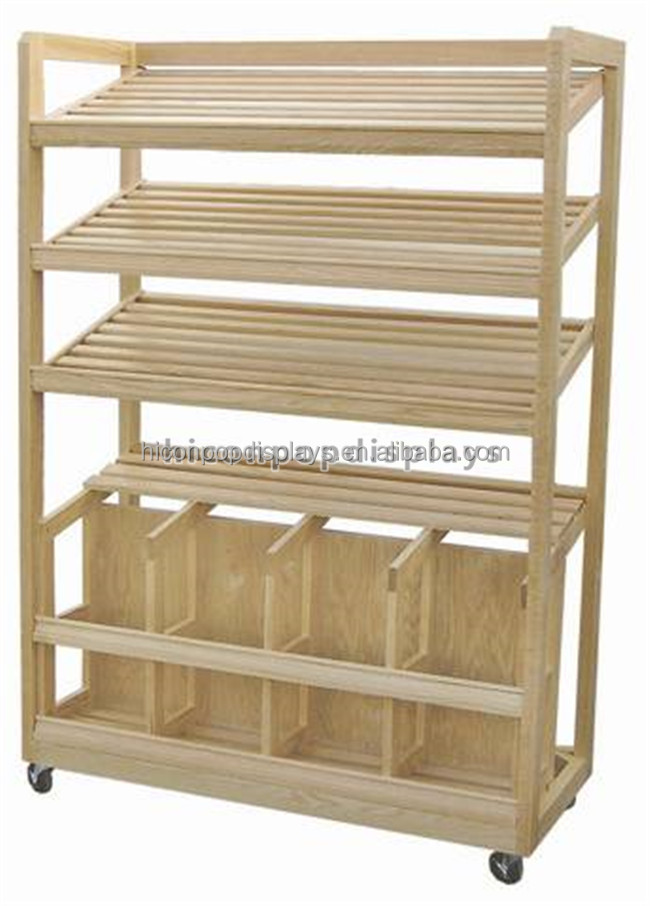 Supermarket Store Fixture Floor Standing Bakery Shop 5-Layer Retail Solid Wood Bread Display Stand