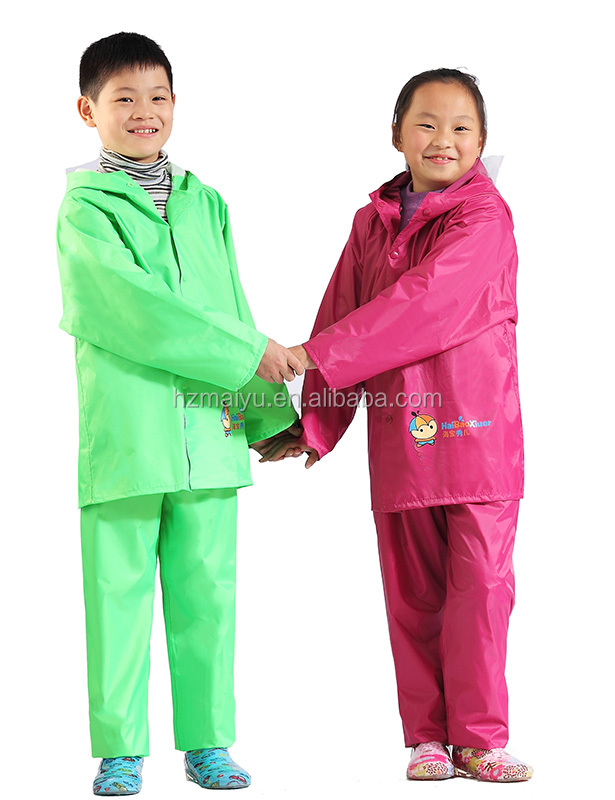 ecological rainproof polyester kids rain jacket