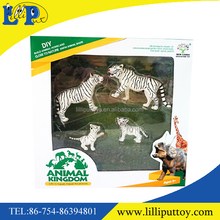 Hard body wild white tiger family set toy with window box