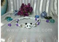 Purple Jade Beaded Panda Bear Bracelet Handmade Macrame