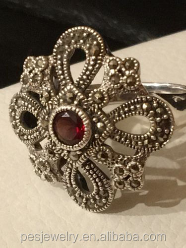 PES Turkish Fashion Jewelry! Beautiful Sterling Silver 925 Marcasite With Genuine Garnet Ring (PES6-1512)