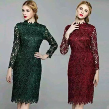 wholesale clothing Autumn long sleeve patterns of lace evening dress for fat women