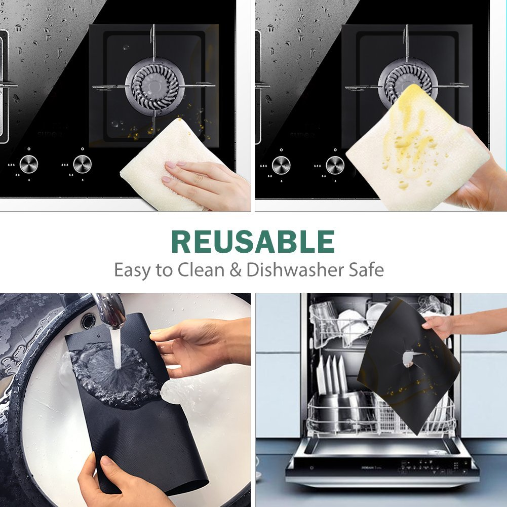 New 4PCS Non-Stick Gas Range Protectors Reusable Gas Stove Burner Cover Protector Liner Clean Mat Pad