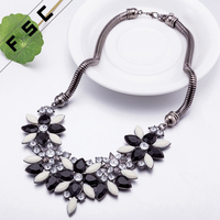 Cheap hot sale south indian colorful bead resin orchid flower chunky alloy necklace for women