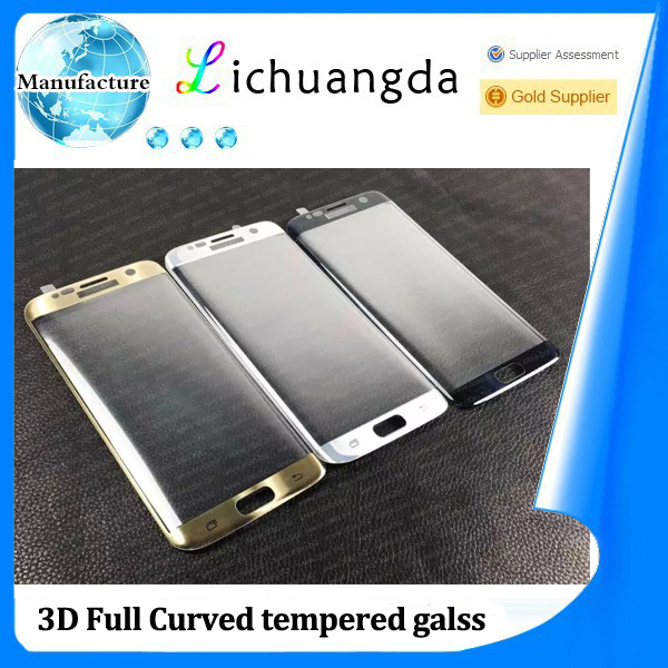 factory wholesale 3D full curved size tempered glass screen protector for samsung S7 edge