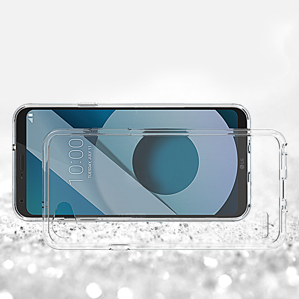 Transparent Shockproof Thick Bumper Acrylic Combo Case Back Cover for LG Q6
