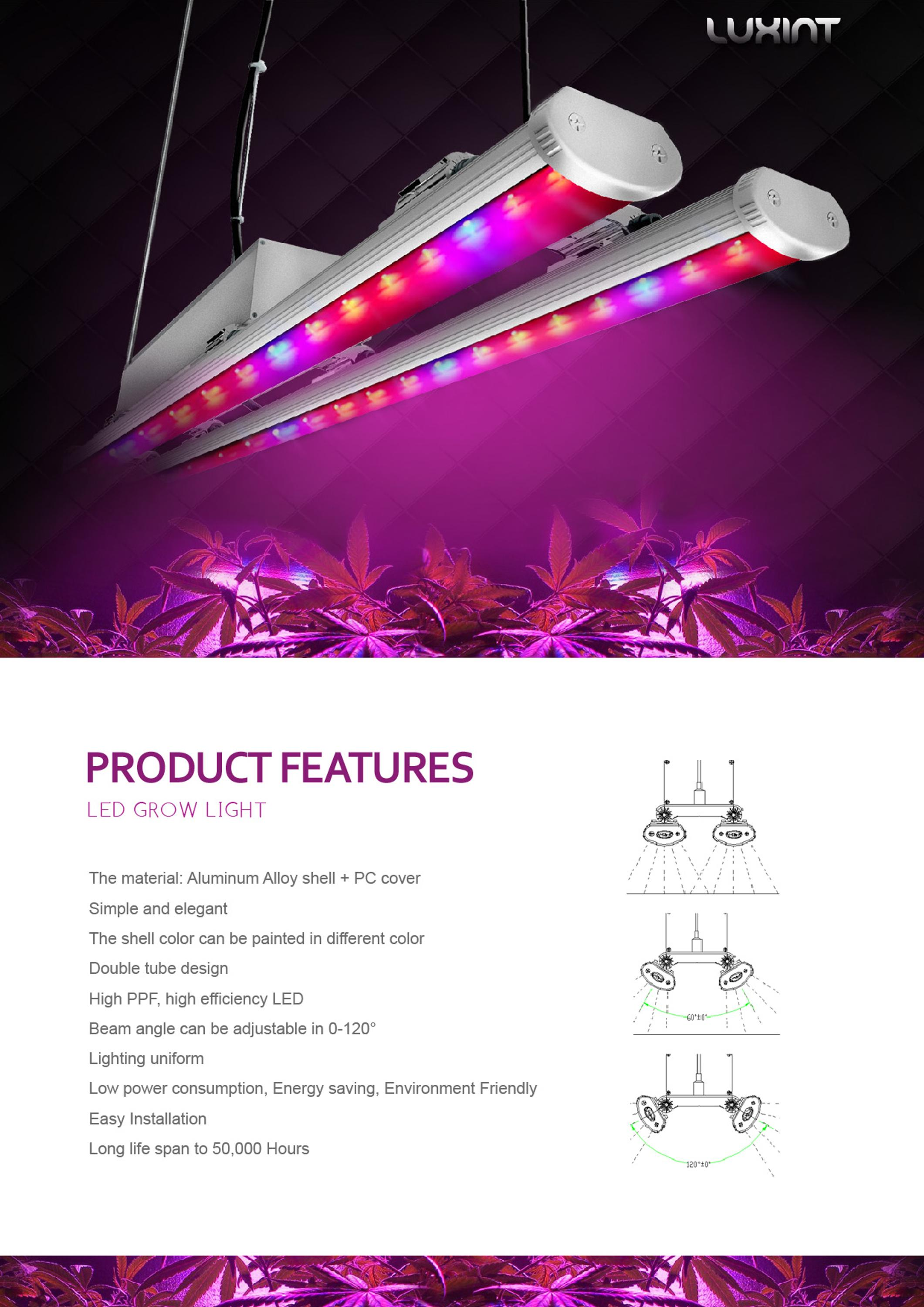 led linear 1.2m grow bar light full spectrum with lg LEDS for Greenhouse growing