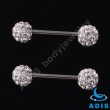 Fashional Barbell Sparkling crystal ball tongue rings Barbell straight