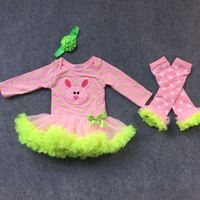 2016 new design arrival full strock baby romper girls pink green bunny Easter dress with leg warmer set