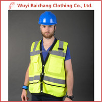 Reflective safety vest yellow vests with multi pockets