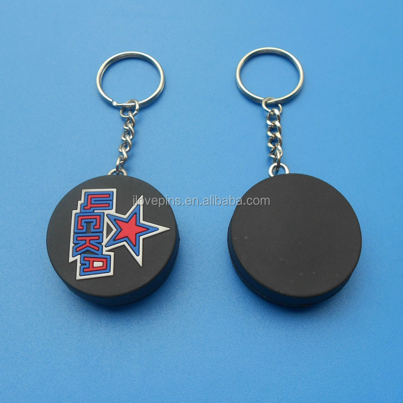 Custom 3D Embossed Logo PVC Ice Hockey Keychain Promotional Gifts