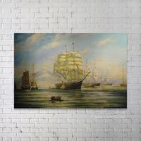 100% handmade Ocean waves oil painting, sailboat oil painting