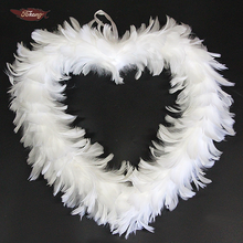 Cheap Christmas Decoration White Feather Wreath For Sale