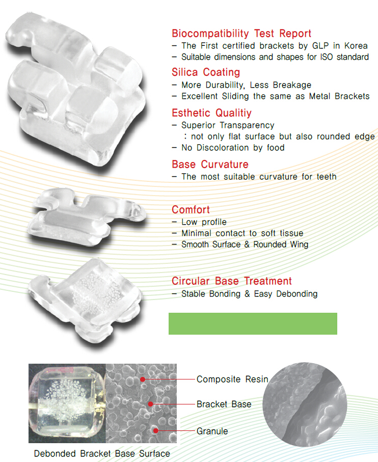 Hot Sell Sapphire Orthodontic Monocrystalline Brackets