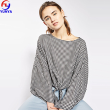 Top selling products in alibaba fashion clothing 2017 Gingham knot front women top