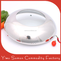 Stainless steel tempered glass lid cooking pot lid with wide rim