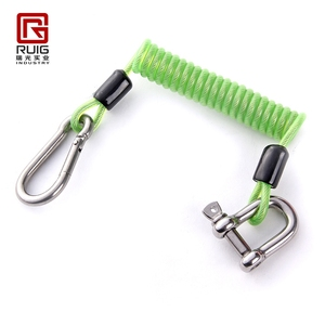 PU coated steel wire rope retractable spring tool lanyard for diving