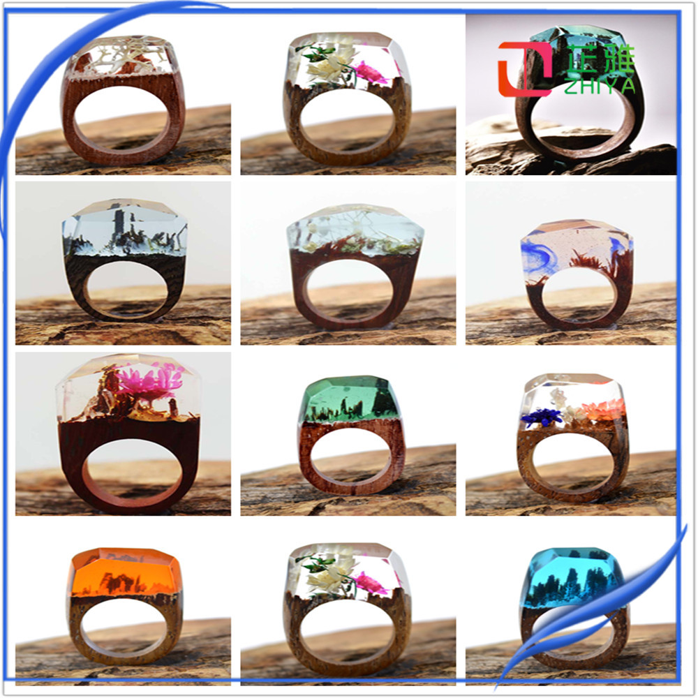 Unique flower resin wood ring wooden resin ring,fashion custom natural wood