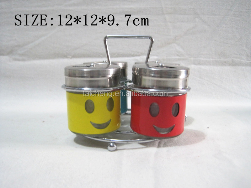 Smiling face glass condiment bottles