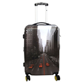 custom printed plastic travel four wheel hard shell suitcase luggage trolley