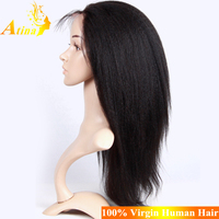Best Selling Virgin Indian Remi Hair Cheap Long Yaki Straight Hair Full Lace Wig With Baby Hair