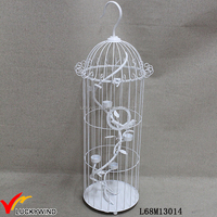 Fancy White Decorative Metal Bird Cage Candle Holder