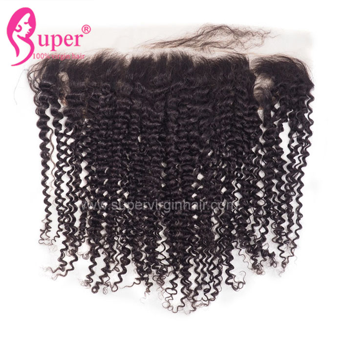 Curly Lace Frontal, 13x4 Raw Afro 100% Human Hair Soft Swiss Lace Frontal Hair  Piece