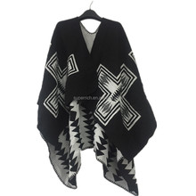 2016 latest design woman cape houndstooth poncho cashmere ladies shawl