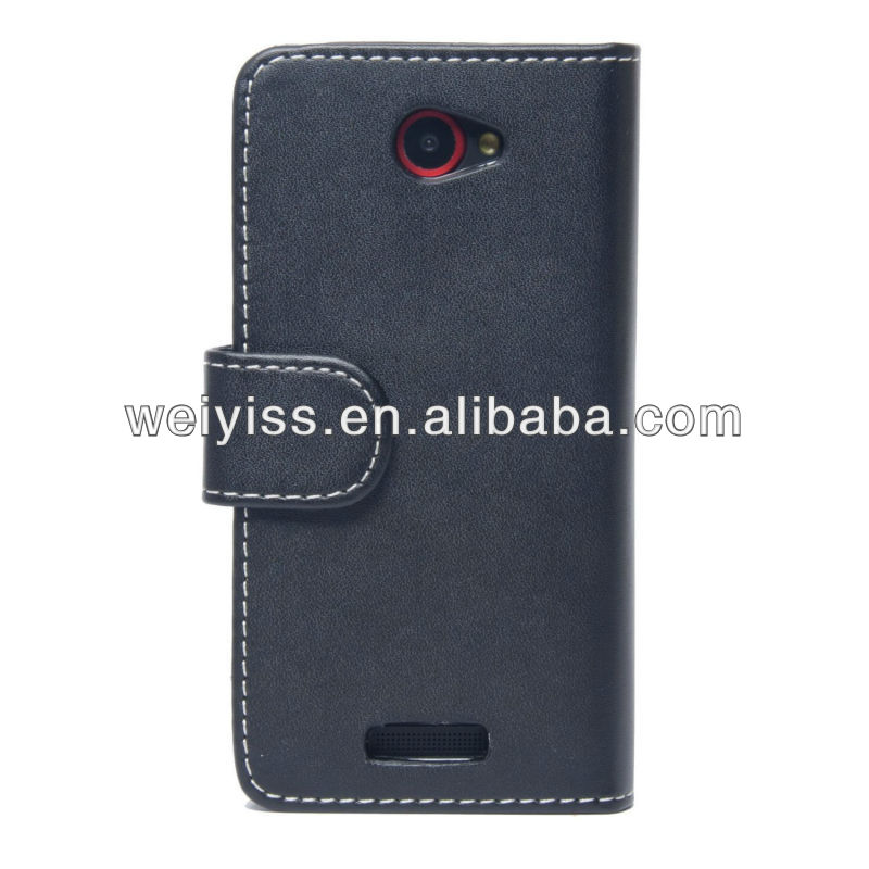 Black Wallet Flip Leather Case for HTC One X with Card Holders