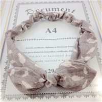 New arrival children headband bow knot leaf printing flax fabric accessories for hair