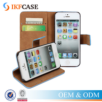 Genuine Leather Wallet Case for iPhone 5 5S SE Protective Phone Case with Card Holder Stand
