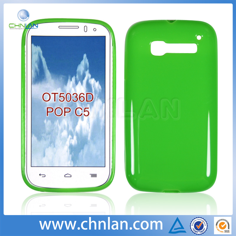 Super slim colorful plain style TPU skin cover for alcatel one touch pop c5 case
