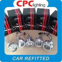 guangzhou motorcycle accessory 3200lm double angel eyes hid bi xenon projectors lens 4300k lamp 3d projectors for sale