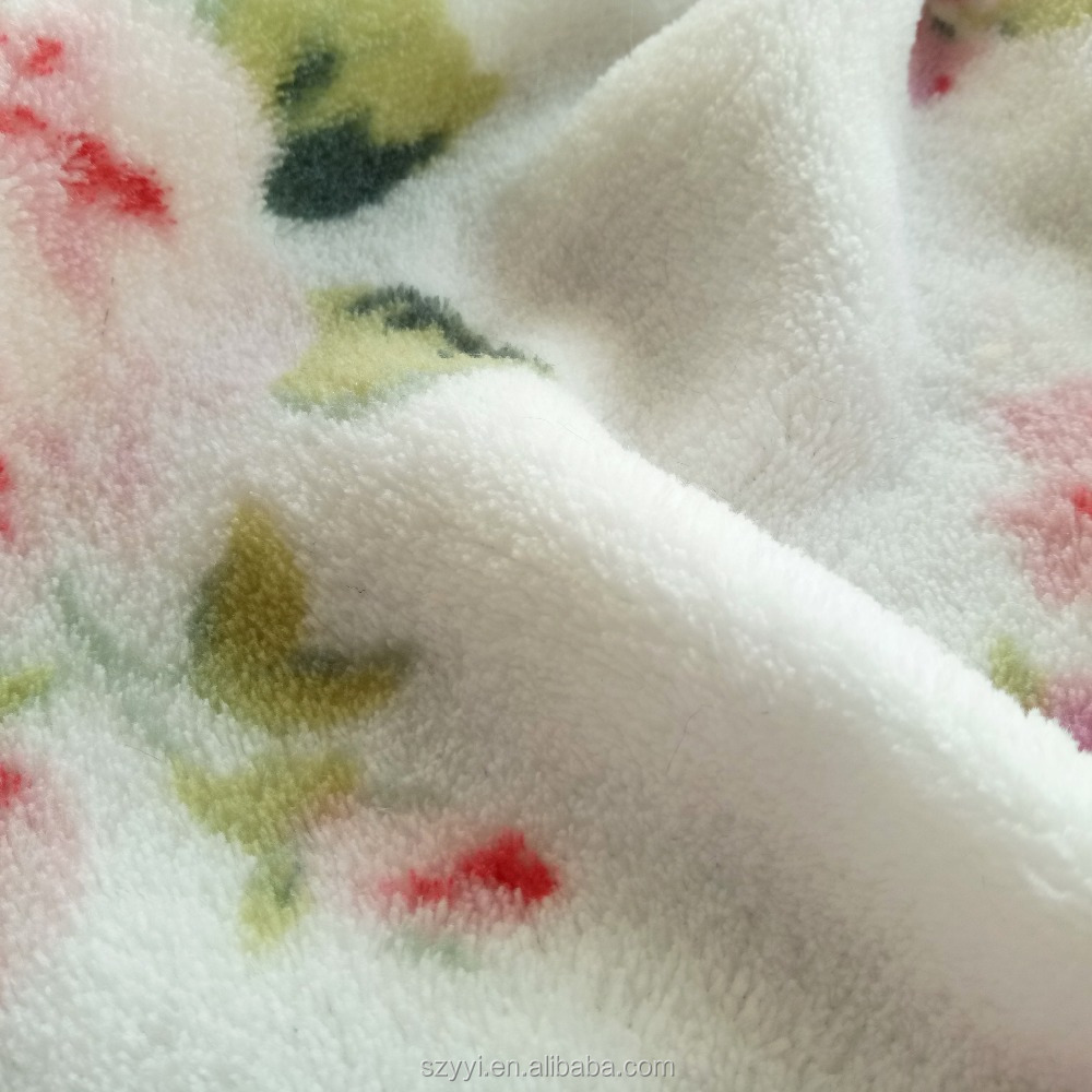 Free sample 100% polyester flower pattern printed coral fleece fabric for cushion,blanket,garment