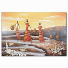 Wholesale acrylic abstract field scenery indian nude women art oil painting