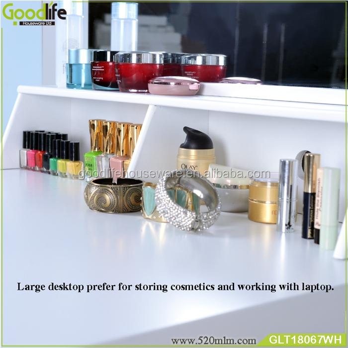 dressing table mirror with makeup storage drawers